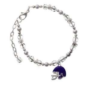Small Purple Football Helmet Clear Czech Glass Beaded Charm Bracelet
