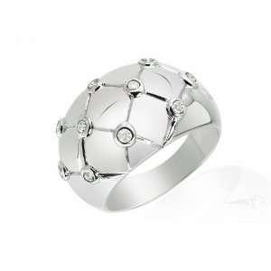 9ct White Gold Diamond Chunky Ring Size 7.5 Jewelry