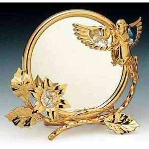 Cherub Flower 24k Gold Plated Swarovski Crystal Mirror