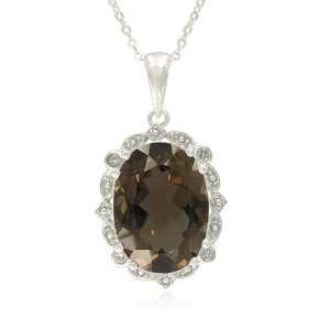 Silver Oval Shaped Smoky Quartz with White Topaz Accent Pendant, 18.5