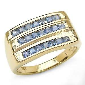 Sapphire Square Sterling Silver Ring With 14 Karat Yellow Gold Plating
