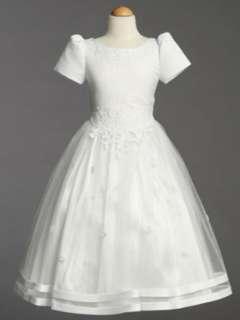 White Satin Communion Baptism Dress with Tulle Skirt Clothing
