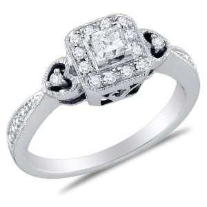 Size 5.5   14K White Gold Diamond Heart Halo Style Engagement Ring
