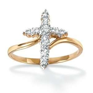 Jewelry 18k Gold Over Silver Diamond Accent Cross Womens Ring Jewelry