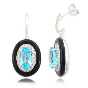 10k White Gold Oval Drop Blue Topaz Onyx Diamond Earrings