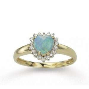 : 14k Yellow Gold Heart Shaped Opal 0.15 Carat Diamond Ring: Jewelry
