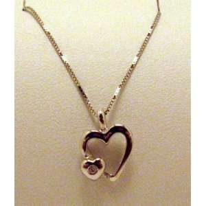 Jewelry 2873 White Gold Heart with Diamond 18 Necklace Everything