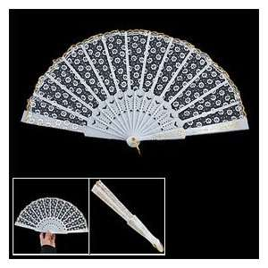 Pattern Lacing Rim Organza Hand Folding Fan White Home Improvement