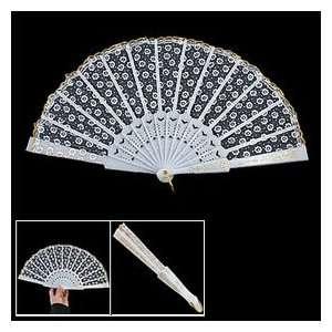 Pattern Lacing Rim Organza Hand Folding Fan White