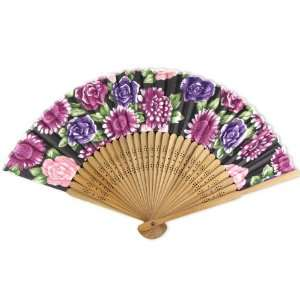 Silky Satin Fabric   Perforated Brown Wood Hand Held Folding Fan