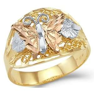 14k Yellow White Rose Tri Color Gold Butterfly Ring New Jewelry