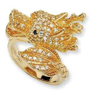 Gold plated Sterling Silver Cubic Zirconia Dragon Ring