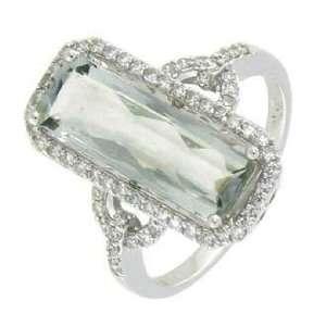 14K White Gold Green Amethyst Diamond Ring Diamond quality