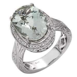 14k White Gold 5.07ctw Green Amethyst Diamond Ring Jewelry