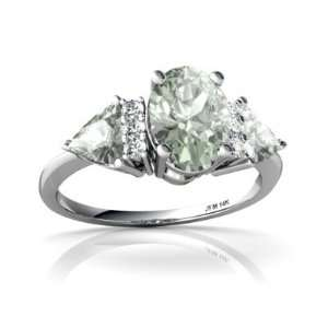 White Gold Oval Genuine Green Amethyst 3 Stone Ring Size 4.5 Jewelry