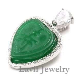 JADE PENDANT   Green Jade Heart Pendant Necklace PENDANT