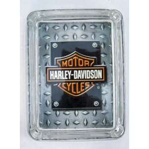Harley Davidson Motorcycle Logo Silver Black Cigarette Ashtray