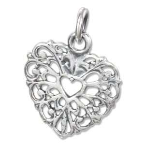 : Sterling Silver Filigree Heart Charm with Heart in Center: Jewelry