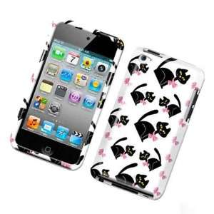 White with Black Kitty Cat and Pink Bow Snap on Apple Ipod