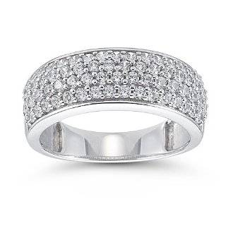 Size  4   14k White Gold Round Diamond Pave Dome Ring Band 1.30ct (G H