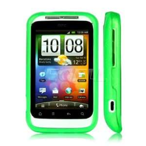 GREEN SILICONE RUBBER GEL CASE SKIN FOR HTC WILDFIRE S Electronics