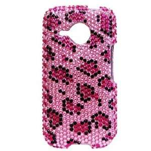 HTC Droid Eris 6200 Pink Leopard Bling Rhinestone Diamante Case Cover