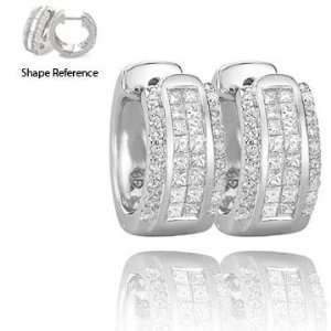 Princess Cut Majestic 14K White Gold Diamond Huggie Earrings Jewelry
