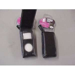 com BLACK LEATHER iPOD NANO 1G Carry Case w/ Pruse Strap & Belt Clip