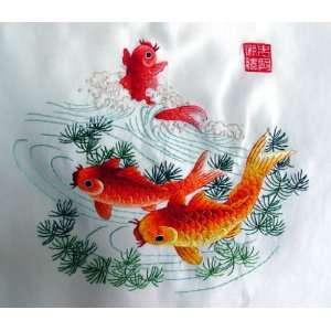 High Quality Chinese Hunan Silk Embroidery 3 Fish Koi