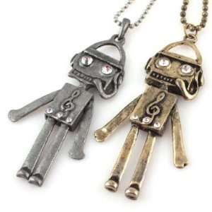 Jewelry Ancient Style Cute Robot Notes Pendants Necklaces (Random