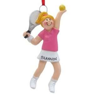 Personalized Tennis Girl Christmas Ornament
