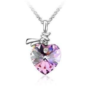 Mystic Topaz Crystal Heart Necklace Pendant Used Swarovski
