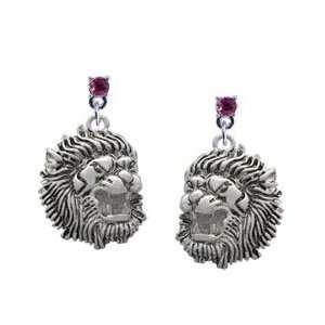 Large Lion   Mascot Hot Pink Swarovski Post Charm Earrings