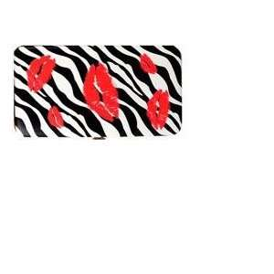 Clutch Hard Case Wallet  Zebra with Red Lipstick Lip Print