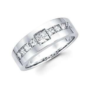 Size  10.5   14k White Gold Mens Diamond Wedding Ring Band