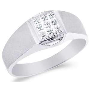 Pave Set Round Cut Mens Diamond Wedding Ring Band (.03 cttw) Jewelry