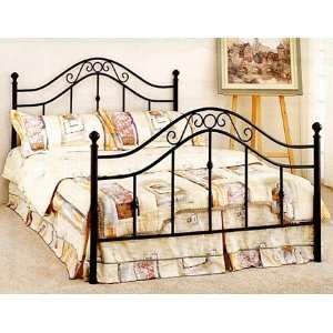 Queen Size Charcoal Finish Metal Bed Headboard and
