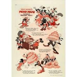 Disney Mickey Mouse Goofy Cake   Original Color Print