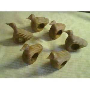 Hand carved Bird Napkin Rings