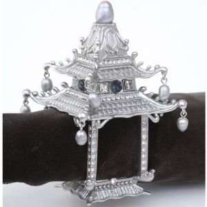 Lobjet Platinum And Gold Napkin Rings Platinum Pagoda Napkin