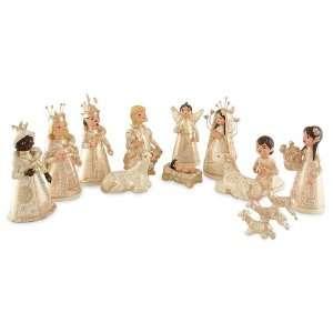 Ceramic nativity scene, Christmas Joy (pearl)