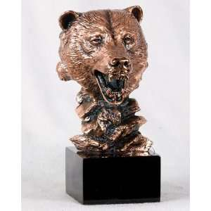 inch Copper Color Bear Head And Bust Figurine Statue