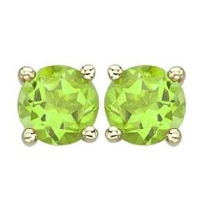 14K Yellow Gold Elegant and Dazzling Round Green Peridot