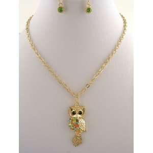 Fashion Jewelry Gold Colored Owl Necklace and Earring Set