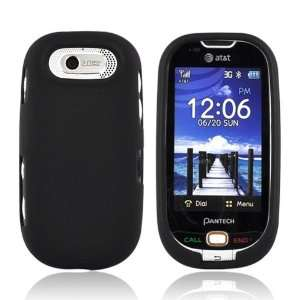Pantech Ease Rubberized Hard Case Cover BLACK Cell Phones
