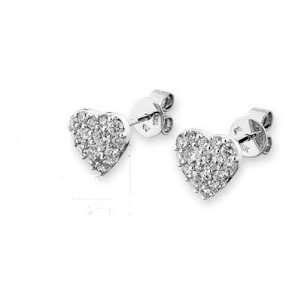 18K White Gold Pave Round Diamond Heart Shape Stud Earrings (1.0 cttw