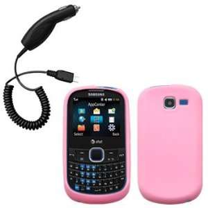 Light Pink Silicone Skin / Case / Cover & Car Charger for Samsung SGH