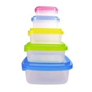 Piece Plastic Food Container Set   5 Plastic Nested Storage Containers