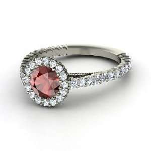 Raquel Ring, Round Red Garnet Platinum Ring with Diamond Jewelry