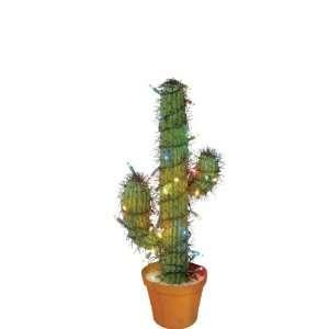 Lighting 35 Multi Color Light 2 Foot Cactus in Terra Cotta Pot Home